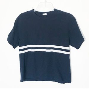 John Galt Navy Blue Striped Tee Small